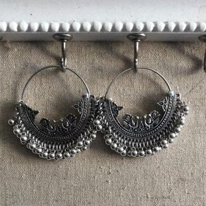 Silver Moroccan Coin Fringe Hoop hoops Earrings